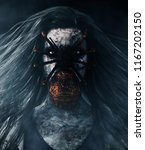 creepy spider on woman face 3d...   Shutterstock . vector #1167202150