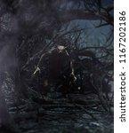 werewolf in creepy forest 3d... | Shutterstock . vector #1167202186