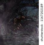 werewolf in creepy forest 3d... | Shutterstock . vector #1167202189