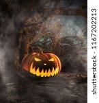 halloween pumpkin in creepy...   Shutterstock . vector #1167202213