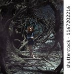 girl lost in the haunted forest ... | Shutterstock . vector #1167202216