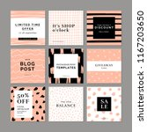 9 square layout templates for... | Shutterstock .eps vector #1167203650