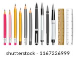 pen  pencil and ruler vector... | Shutterstock .eps vector #1167226999