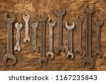 old spanners on oily rag...   Shutterstock . vector #1167235843