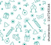 seamless pattern with new year... | Shutterstock .eps vector #1167243166