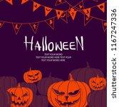 silhouette orange pumpkin... | Shutterstock .eps vector #1167247336