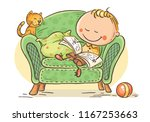 little child reading a book in... | Shutterstock .eps vector #1167253663