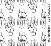 vintage hands with all seeing... | Shutterstock .eps vector #1167260293
