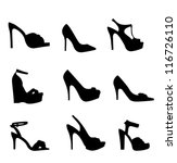 nine silhouette high heels | Shutterstock .eps vector #116726110