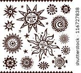 Set Of Ethnic Handmade Suns...