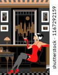 flapper girl with a glass of... | Shutterstock .eps vector #1167292159
