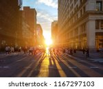 people cross busy intersection...   Shutterstock . vector #1167297103