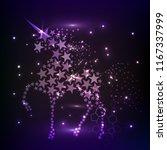 blue glowing horse unicorn... | Shutterstock .eps vector #1167337999