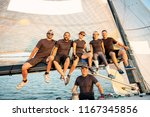 team athletes yacht training...   Shutterstock . vector #1167345856