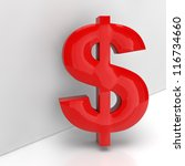 red dollar sign in 3d leaning... | Shutterstock . vector #116734660