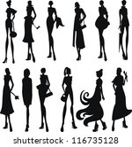 set of sexy women silhouettes | Shutterstock .eps vector #116735128
