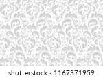 Stock vector floral pattern vintage wallpaper in the baroque style seamless vector background white and grey 1167371959