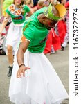 London, United Kingdom, August 27th 2018:- Participants take part in the Nottinghill Carival in west London, Europe's largest street party. - stock photo