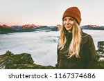 pretty woman hiking outdoor... | Shutterstock . vector #1167374686