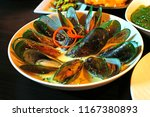 dish of green lipped new... | Shutterstock . vector #1167380893