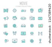 collection of movie thin line... | Shutterstock .eps vector #1167389620
