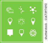 9 atom vector icon set with map ...   Shutterstock .eps vector #1167397693