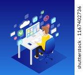 man working on desktop computer ... | Shutterstock .eps vector #1167402736