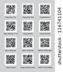 set of qr codes with... | Shutterstock .eps vector #116741104