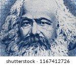 karl marx portrait on east... | Shutterstock . vector #1167412726