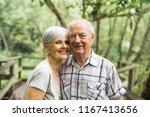 happy old elderly caucasian...   Shutterstock . vector #1167413656