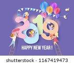 2019 new year design card with... | Shutterstock .eps vector #1167419473