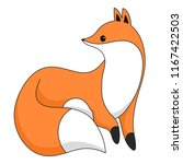 red fox isolated on white. cute ... | Shutterstock .eps vector #1167422503