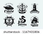 Marina, sailing, cruise logo or label. Marine themes, set of emblems. Vector - stock vector