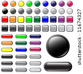 vector shiny button elements in ... | Shutterstock .eps vector #11674327