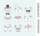 black line cute smiling cats... | Shutterstock .eps vector #1167432823
