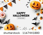 happy halloween party label ... | Shutterstock .eps vector #1167441880