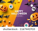 happy halloween party... | Shutterstock .eps vector #1167441910