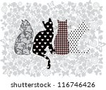 Stock vector illustration of funny cats 116746426