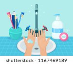washing hands with soap.... | Shutterstock .eps vector #1167469189