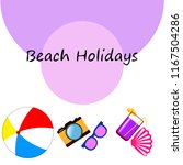 summer holiday hat flip flops... | Shutterstock .eps vector #1167504286