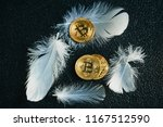 golden bitcoin coin with... | Shutterstock . vector #1167512590