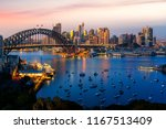 panorama of sydney harbour and... | Shutterstock . vector #1167513409