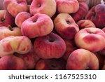 fresh red donut peach...   Shutterstock . vector #1167525310