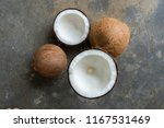 coconut was piled on a concrete ... | Shutterstock . vector #1167531469