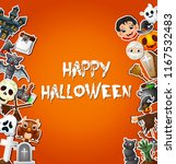 happy halloween card... | Shutterstock .eps vector #1167532483