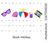 summer holiday hat flip flops... | Shutterstock .eps vector #1167534010