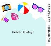 summer holiday hat flip flops... | Shutterstock .eps vector #1167534913
