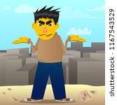 yellow man shrugs shoulders... | Shutterstock .eps vector #1167543529