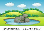 a beautiful pond landscape... | Shutterstock .eps vector #1167545410