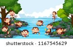monkey playing in the lake... | Shutterstock .eps vector #1167545629